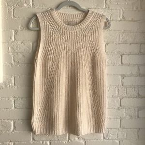 Loft cream knit fall sweater sleeveless Large